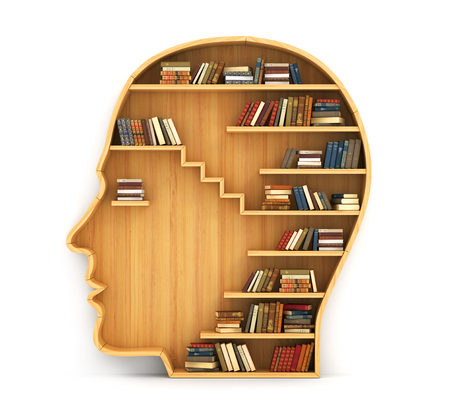 book shelves: Concept of training. Wooden bookshelf in form of man head. Science about human. Psychology. A human have more knowledge.