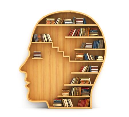 psicologia: Concepto de formación. Estantería de madera en forma de la cabeza del hombre. Ciencia sobre humano. Psicología. Un ser humano tiene más conocimiento. Foto de archivo