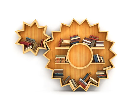 academia: Concept of training. Wooden bookshelf in form of gears. Mechanic. A human have more knowledge.