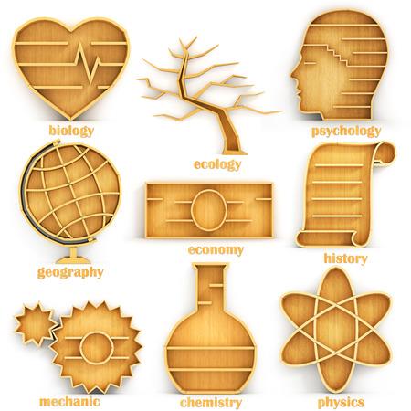BIOLOGIA: Conjunto de estantes vacíos en forma de direcciones ciencia. Concepto de science.Biology, ecología, psicología, geografía, economía, historia, mecánico, la química, la física.