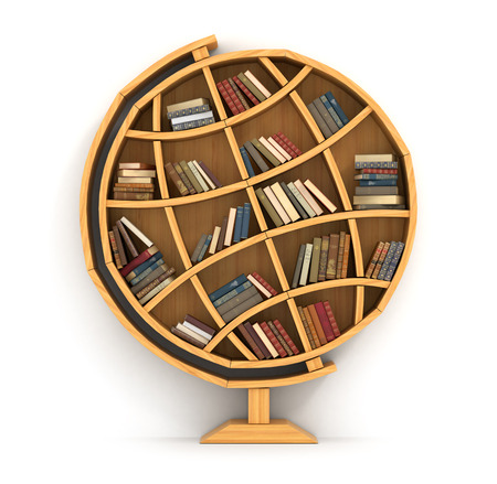 human geography: Concept of training. Wooden bookshelf in form of globe. Science about locality. Geography. A human have more knowledge. Stock Photo