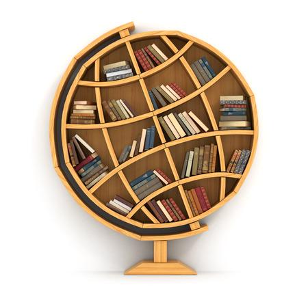 Het concept van de opleiding. Houten boekenkast in de vorm van de wereld. Wetenschap over plaats. Aardrijkskunde. Een mens heeft meer kennis.