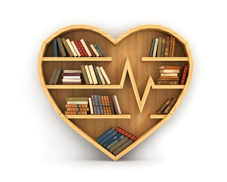 Concept of training. Wooden bookshelf in form of heart. Science about human. Medicine. A human have more knowledge about health. The library of knowledge about medicine. Cardiology.