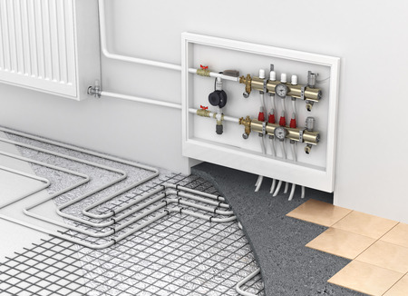 radiator: Calefacción por suelo radiante con el colector y el radiador en la habitación. Concepto de calentamiento de la tecnología. El orden de las capas en el suelo. Foto de archivo
