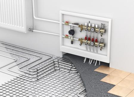 Fußbodenheizung mit Kollektor und Heizkörper in den Raum. Konzept der Technologie Heizung. Die Reihenfolge der Schichten in den Boden. Lizenzfreie Bilder