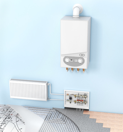 manifold: The concept of heating with radiators and a boiler . Underfloor heating
