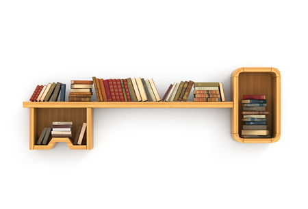 bookshelf: Concept of training. Wooden bookshelf in form of key. The key to knowledge. Psychology. A human have more knowledge.