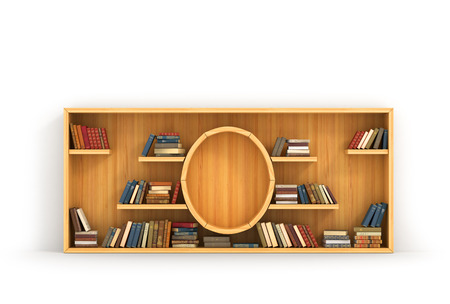 Concept of training. Wooden bookshelf in form of money. Science about money. Economy. A human have more knowledge. Stock Photo