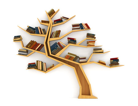 book shelf: Concept of training. Wooden bookshelf in form of tree. Science about nature. The tree of knowledge. A human have more knowledge.