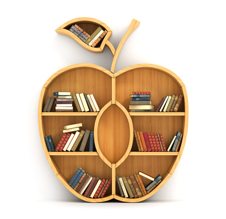Concept of training. Wooden bookshelf in form of apple. Science concept. A human have more knowledge. Stock Photo