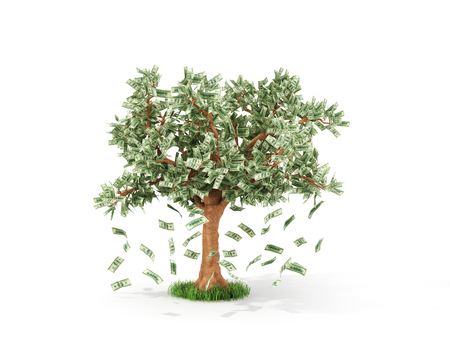 Business or savings concept of a money tree with growing dollar bills
