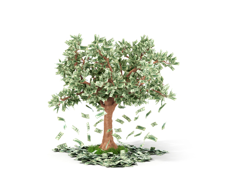 Money tree with hundred dollar bills growing on it and lying on white grownd.