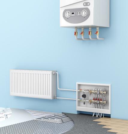 Il concetto di pavimento caldo in una camera con caldaie e radiatori murali. Riscaldamento