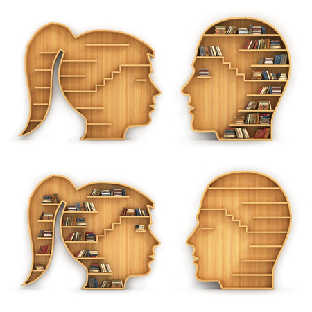 Set of bookshelves in the form of man and woman head. Concept of science. Have or have no knowledge.