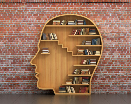 knowledge: Concept of training. Wooden bookshelf full of books in form of man head on a bricks background. Science about human. Psychology. A human have more knowledge.
