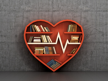 head set: Concept of training. Wooden bookshelf in form of heart on the concrete wall background. Science about human. Medicine. A human have more knowledge about health. The library of knowledge about medicine. Cardiology.