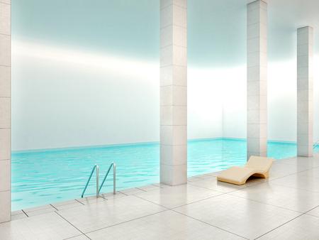 3D-afbeelding van een overdekt zwembad met blauw water