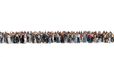 crowd of people: Crowd. Large crowd of people stay on a line on the white background.