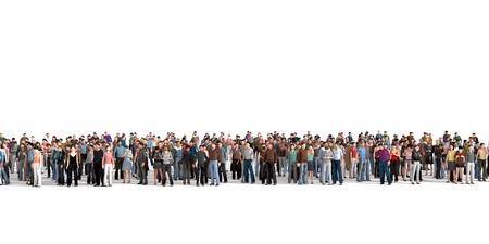 grupo de personas: Multitud. Multitud de personas permanecer en una línea en el fondo blanco.