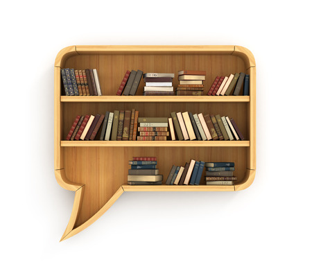 Concept of training. Wooden bookshelf full of books in form of dialog. Learn in dialog. Psychology. A human have more knowledge.