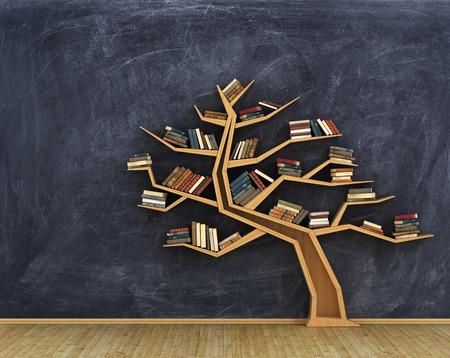 Konzept der Wissenschaft. Bücherregal voller Bücher in Form von Baum auf einem Whiteboard. Lizenzfreie Bilder