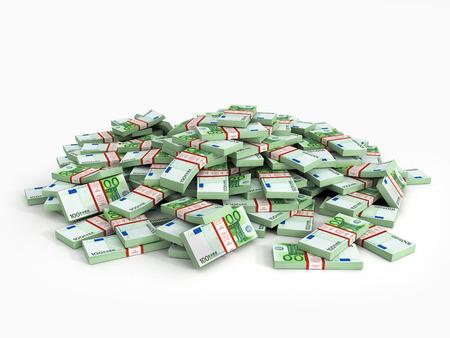 cash money: Mont�n de paquetes de euro. Un mont�n de dinero en efectivo