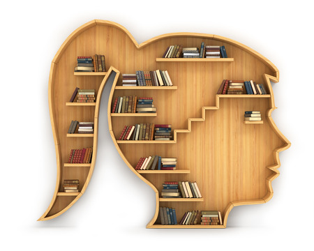 Concept of training. Wooden bookshelf in form of woman head. Science about human. Psychology. A human have more knowledge. Stock Photo