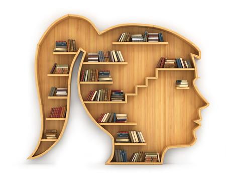 mujer golpeada: Concepto de formación. estantería de madera en forma de pista de la mujer. Ciencia sobre humano. Psicología. Un ser humano tiene más conocimiento.