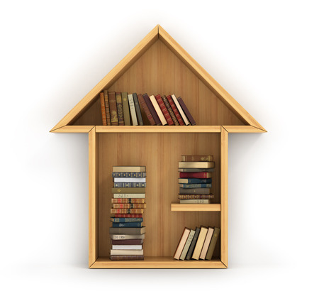 Concept of training. Wooden bookshelf full of books in form of house. The home of knowledge. Homework. A human have more knowledge.