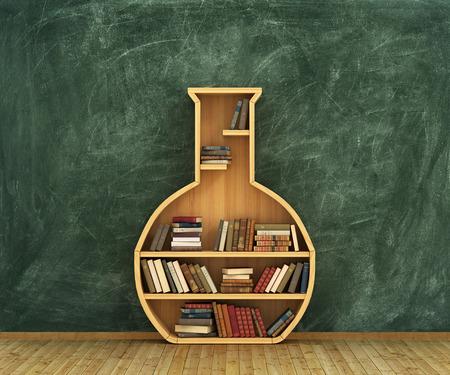 literatura: Concepto de la química. Estantería llena de libros en forma de tubo de ensayo con el sorteo de química en la pizarra.