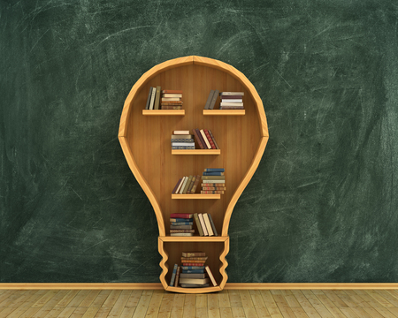 bookshelves: Concept of idea. Bookshelf full of books in form of bulb with concept drawing on whiteboard.