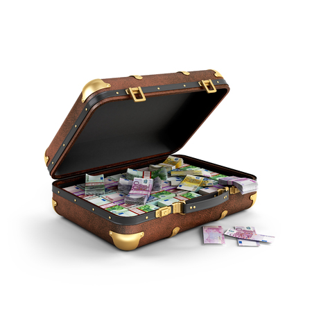 pervert: Euro banknotes in a suitcase