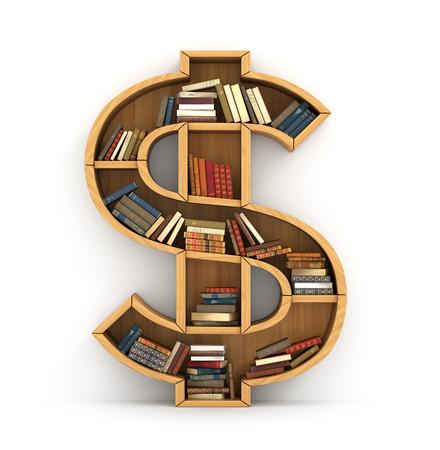Wooden bookshelf full of books in form of dollar sign Stock Photo