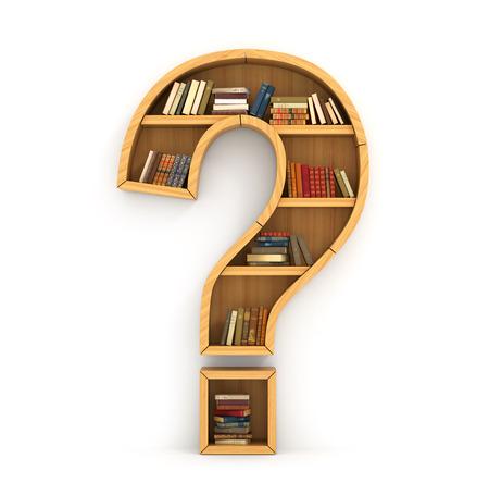 punto di domanda: Scaffale pieno di libri in forma di segno di domanda su uno sfondo bianco