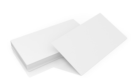 not full: Stack of white business cards on a white background.