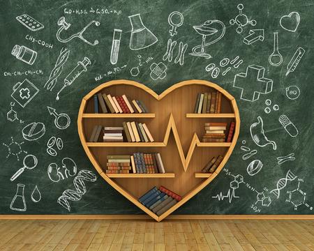 sano: estanter�a de madera llena de libros en forma de coraz�n en el fondo de la pizarra con dibujos de medicina