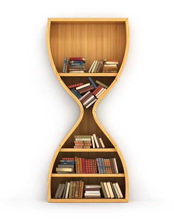 knowledge: Wooden bookshelf full of books in form of hourglass