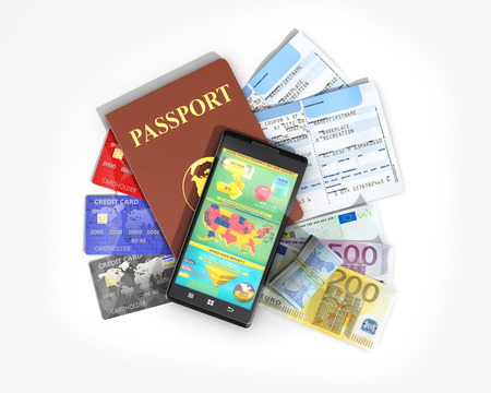 ides: Business travel and tourism concept: air tickets, passport, smartphone and credit cards isolated on white