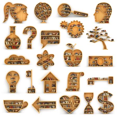 mecanico: Conjunto de estanter�as llenas de libros en forma de direcciones ciencia. Concepto de la ciencia. Biolog�a, ecolog�a, psicolog�a, geograf�a, econom�a, historia, mec�nico, la qu�mica, la f�sica.