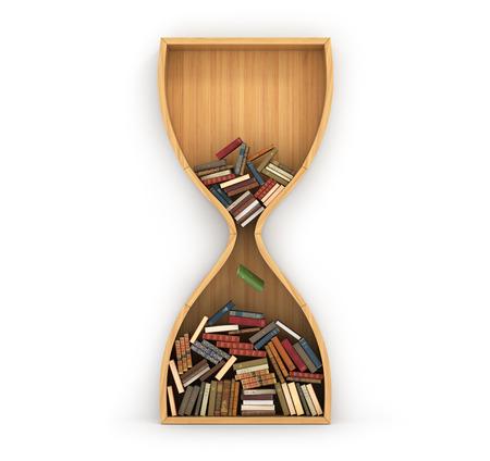 Wooden bookshelf full of books in form of hourglass