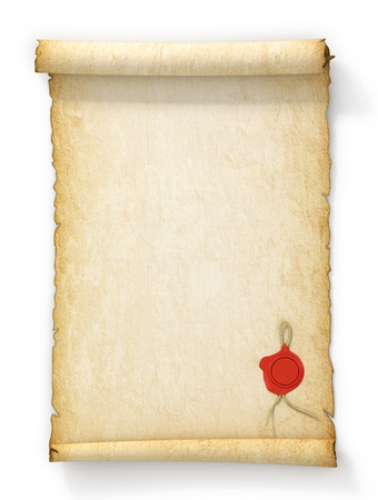 feasible: Scroll of old yellowed paper with a wax seal on a white background.