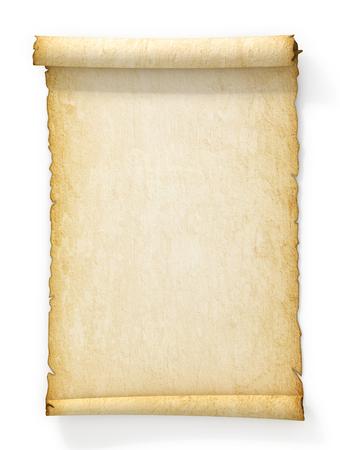 parchemin: Parchemin de vieux papier jauni sur fond blanc. Banque d'images