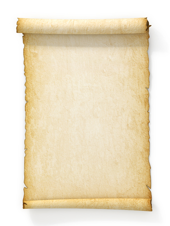 Scroll of old yellowed paper on white background. Stockfoto