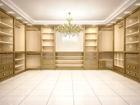 walk in: 3d illustration of Big empty walk in wardrobe in luxurious house