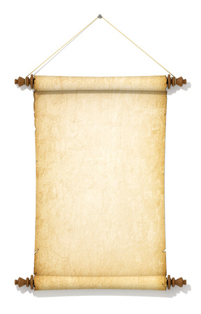 yellowed: Suspended on a rope and old yellowed roll of paper. Stock Photo