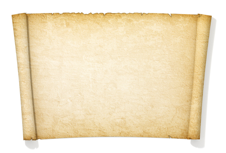 manuscript on parchment: Advanced yellowed and old roll of paper. Stock Photo