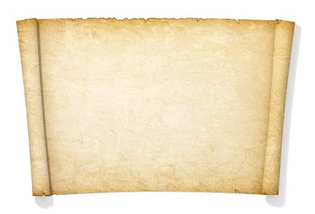 papier lettre: Avanc�e rouleau jauni et vieux de papier. Banque d'images