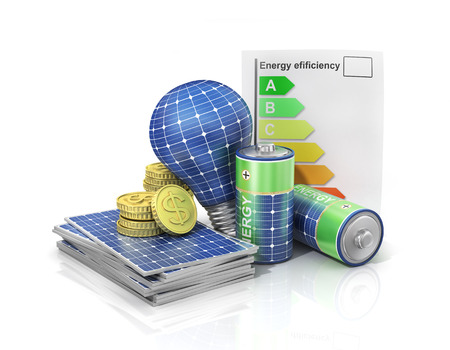 Concept of saving money if use solar energy. Solar battery in form of panel, bulb and battery with money.