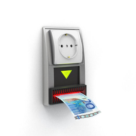 electricity tariff: White outlet on the bill acceptor Stock Photo