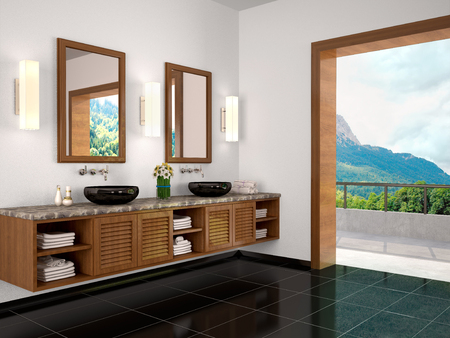 double sink: 3d illustration of double sink in the bathroom Mediterranean-sty